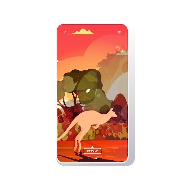 Кенгуру бежит от лесных пожаров в австралии животные умирают в лесном пожаре лесной пожар горят деревья концепция стихийного бедствия интенсивное оранжевое пламя экран телефона мобильное приложение Premium векторы