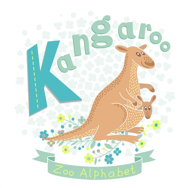 Кенгуру с кенгуру ребенка в мультяшном стиле. Premium векторы