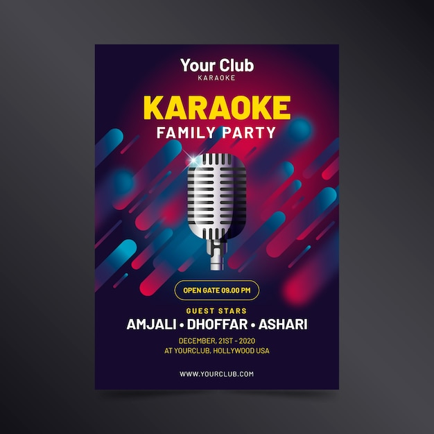 Karaoke abstract poster template Free Vector