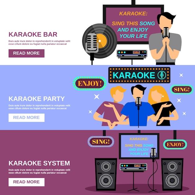 Karaoke banner set Free Vector