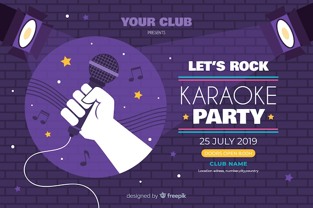 Karaoke banner template flat style Free Vector