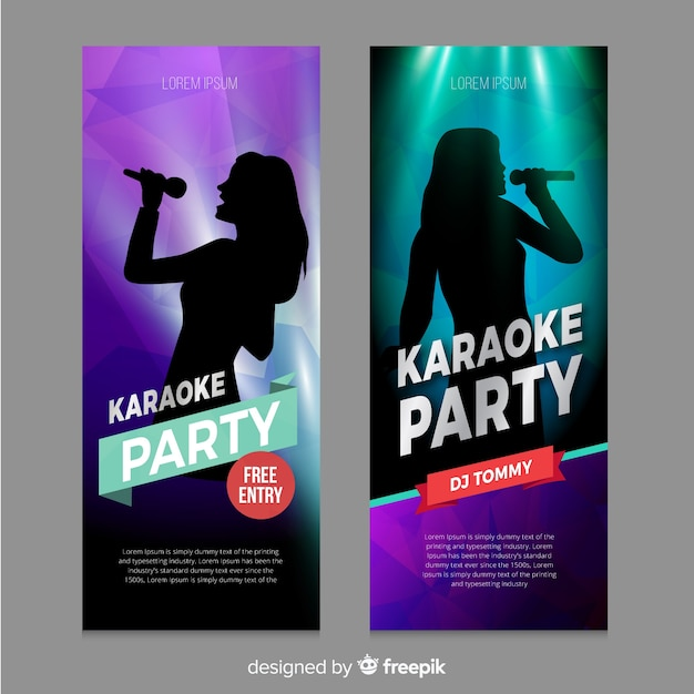 Karaoke banner template realistic style Premium Vector