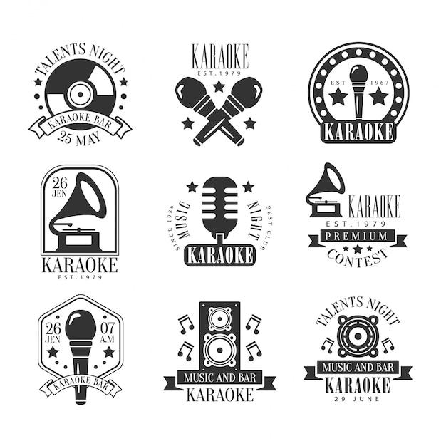 Karaoke bar black and white label set Premium Vector