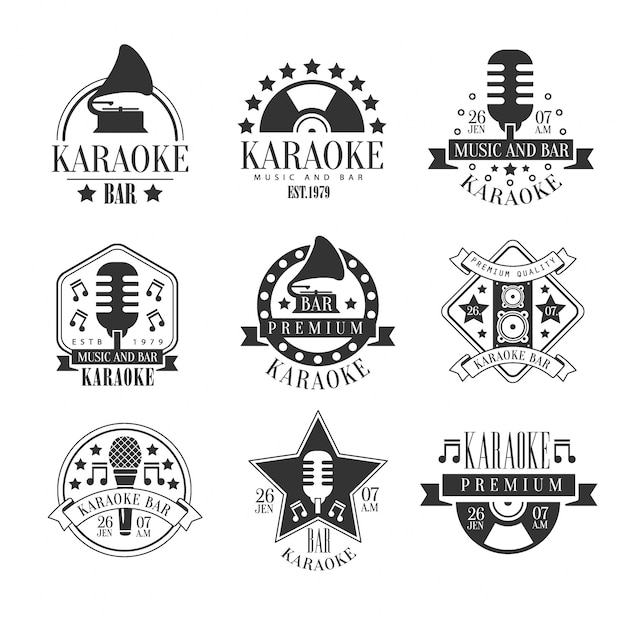 Karaoke club black and white emblems Premium Vector