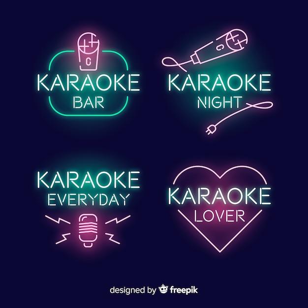 Karaoke club neon light collection Free Vector
