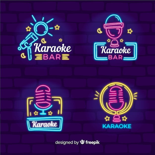 Karaoke club neon light collection Free Vector
