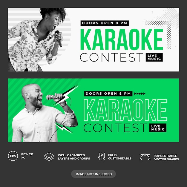 Karaoke facebook cover template Premium Vector