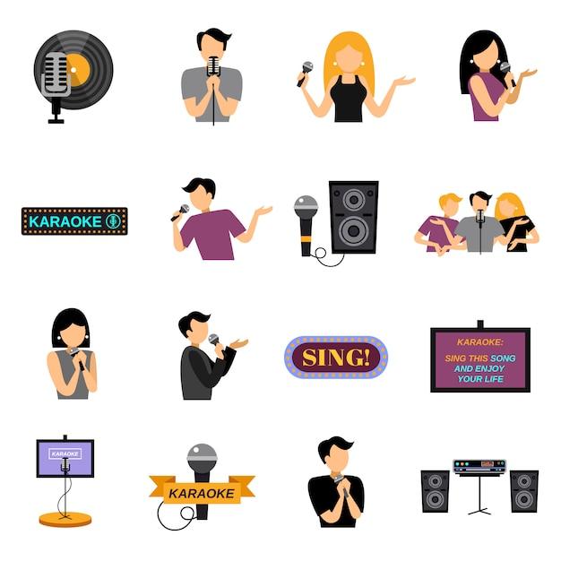 Karaoke flat icons set Free Vector