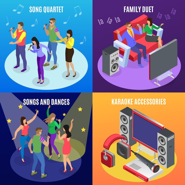 Karaoke isometric 2x2 concept with icons of stars spotlights and images of people at ktv party Free Vector