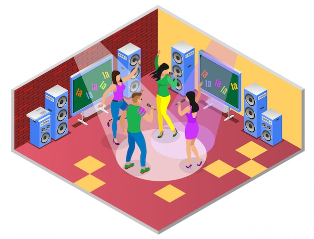 Karaoke isometric composition with party room interior illustration tv set and group of young people singing songs Free Vector