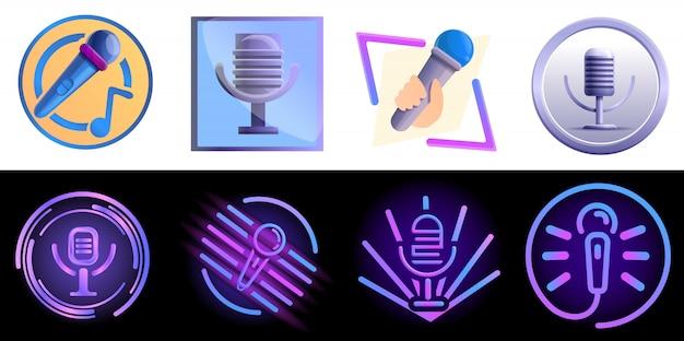 Karaoke logo set, cartoon style Premium Vector