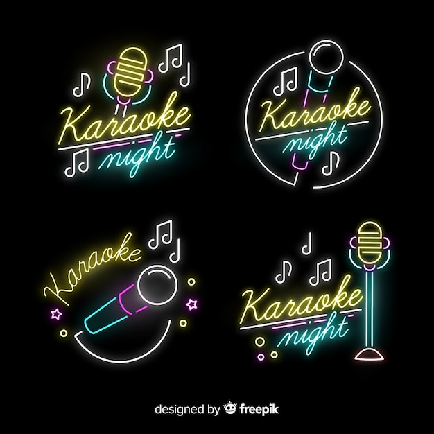 Karaoke night bar neon light sign collection Free Vector