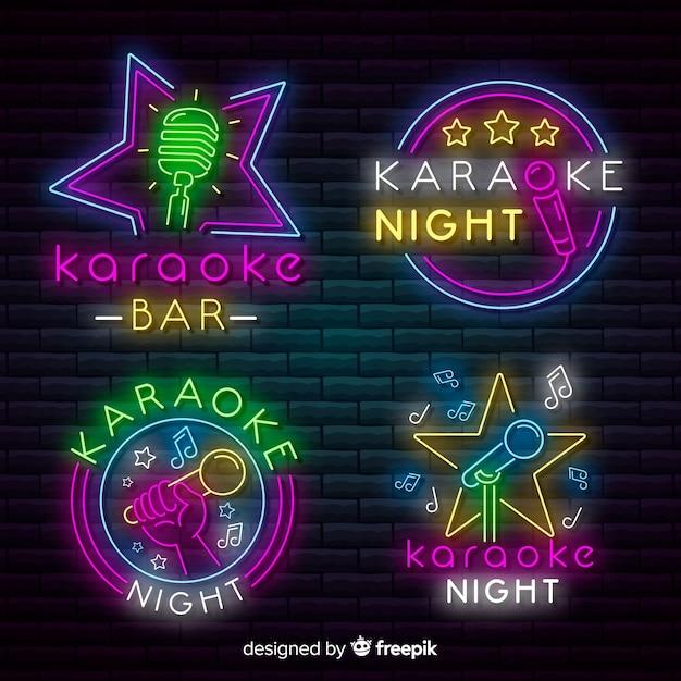 Karaoke night bar neon light sign collection Vector | Free