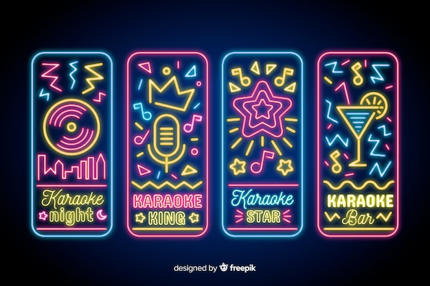 Karaoke night neon light sign collection Free Vector