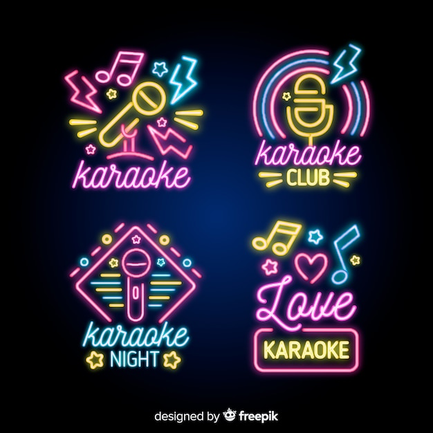 Karaoke night neon light sign collection Free Vector