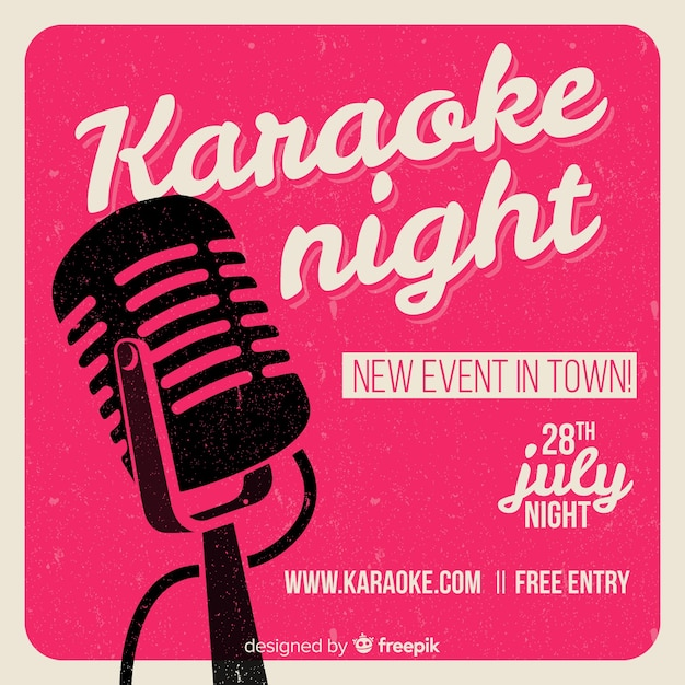 Karaoke night party banner or flyer template Vector | Free Download