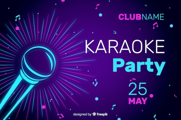 Karaoke night party banner or flyer template Free Vector