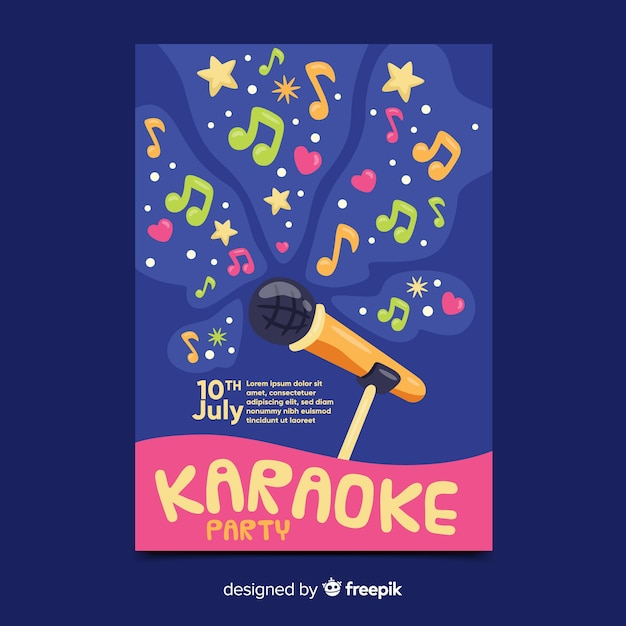 Karaoke night party poster or flyer template Premium Vector