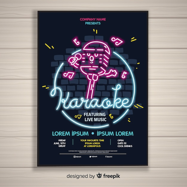 Karaoke night party poster or flyer template Free Vector
