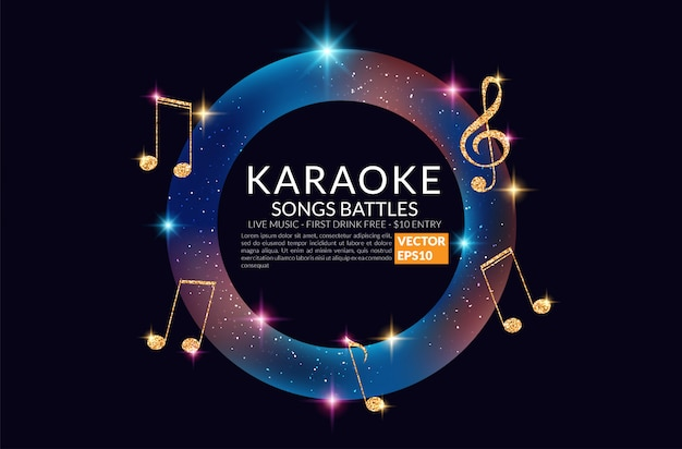 Karaoke party banner with microphone. Premium Vector