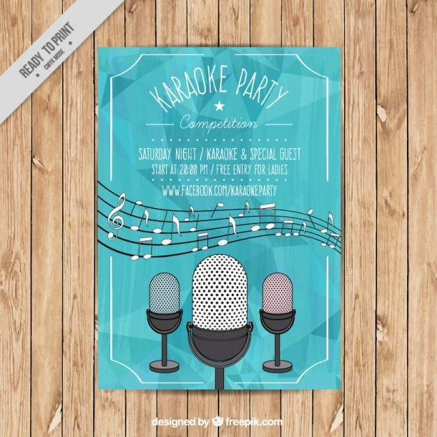 Karaoke party brochure Free Vector