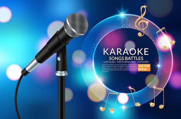 Karaoke party invitation flyer template Premium Vector