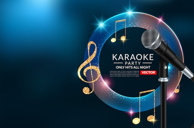 Karaoke party invitation poster  template, karaoke night flyer Premium Vector