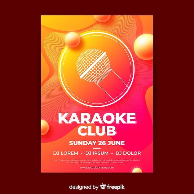 Karaoke party poster gradient design Free Vector