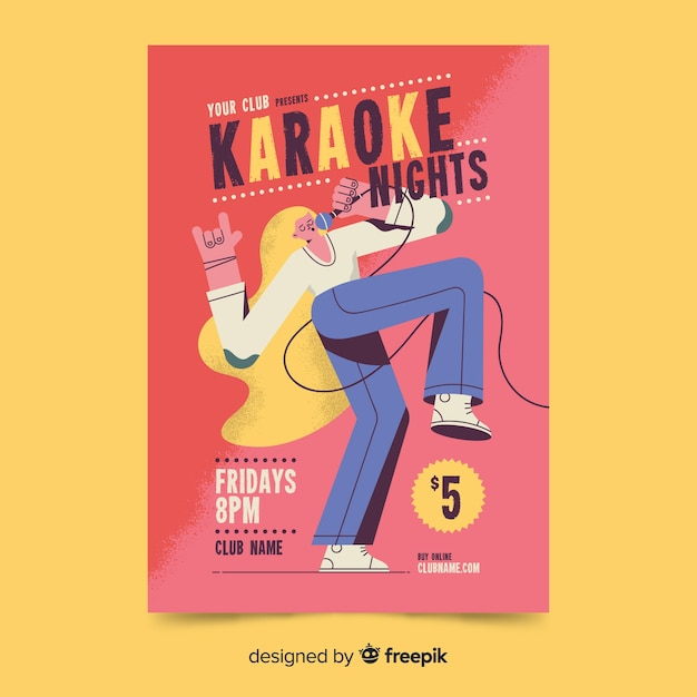 Karaoke party poster hand drawn design Free Vector