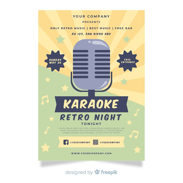 Karaoke party poster template in flat style Free Vector