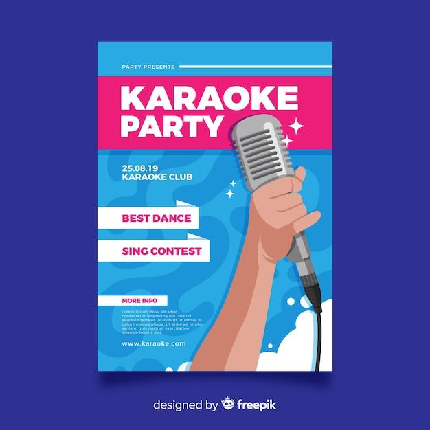 Karaoke poster template flat design Free Vector