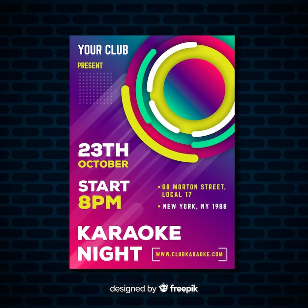 Karaoke poster template gradient style Vector | Free Download