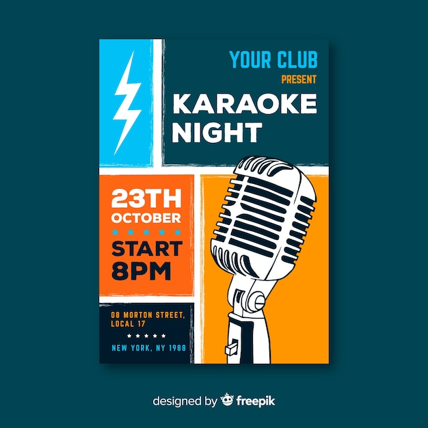 Karaoke poster template hand drawn microphone Free Vector