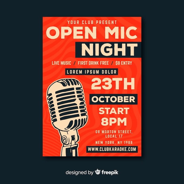 Karaoke poster template hand drawn microphone Vector | Free Download