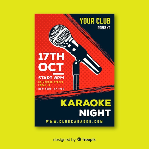 Karaoke poster template hand drawn microphone Premium Vector