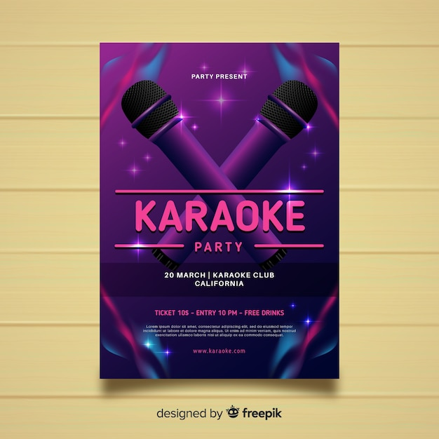 Karaoke poster template realistic style Free Vector