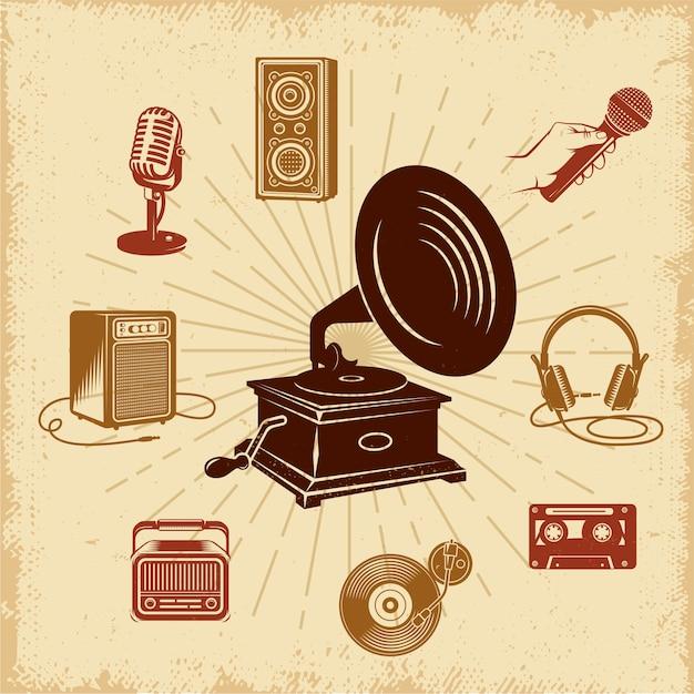 Karaoke vintage illustration composition Free Vector