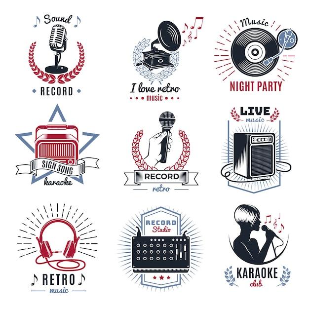 Набор старинных логотипов караоке Бесплатные векторы