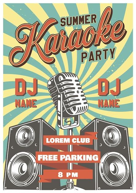 Karaoke vintage poster Free Vector
