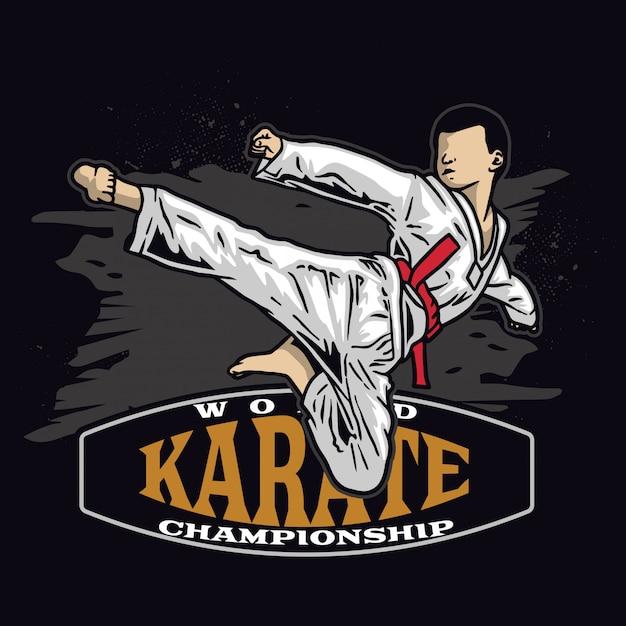 Karate kid kick in the air Premium Vector