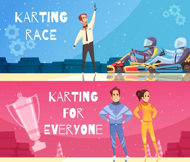 Karting banner set Free Vector