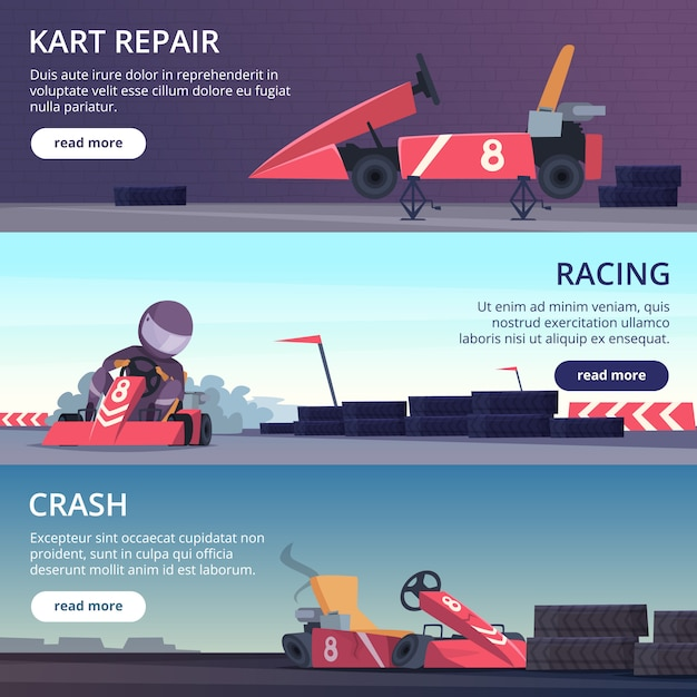 Karting cars. banners with sport pictures of speed fast karting racing automobiles vector cartoon pictures Premium Vector