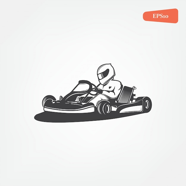 Karting club icon Premium Vector