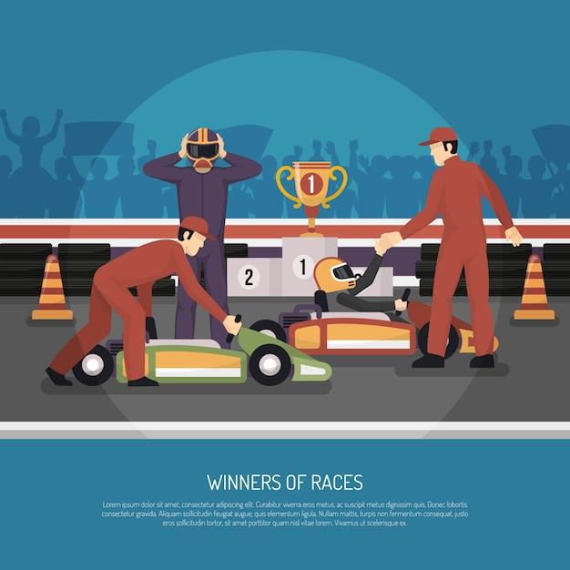 Karting motor race illustration Free Vector