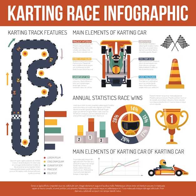 Karting motor race infographics Free Vector