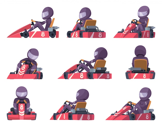 Karting racers. sport speed cars competition  karting automobile illustrations Premium Vector