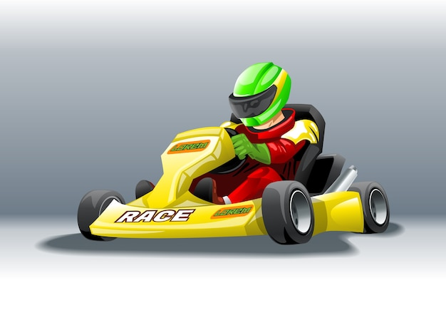Karting with a rider at high speed. Premium Vector