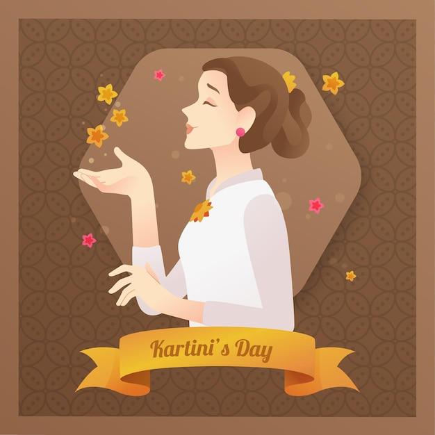 Kartini смелый женский герой с лентой Premium векторы