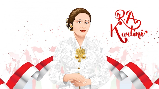 Kartini day, r a kartini the heroes of women and human right in indonesia Premium Vector