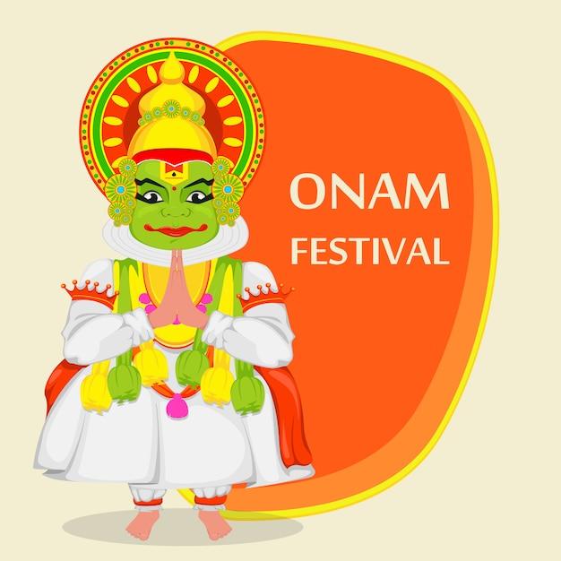 Kathakali dancer. happy onam Premium Vector